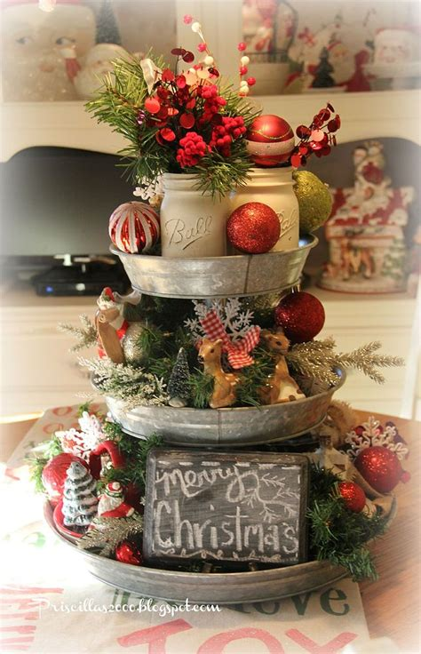 christmas centrepieces to make how to make a galvanized tiered tray christmas centerpiece christmas centrepieces