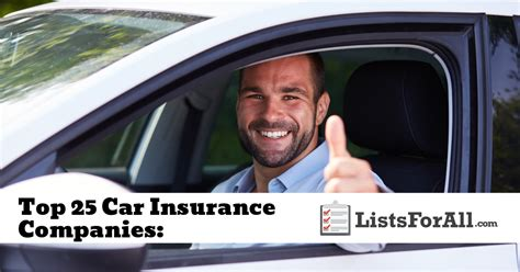car insurance for 25 males best car insurance companies the top 25 list