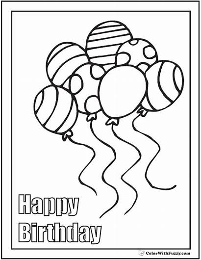 Pages Coloring Birthday Cupcake Happy Printable Pdf