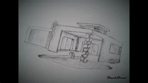 draw  modern house step  step modern house