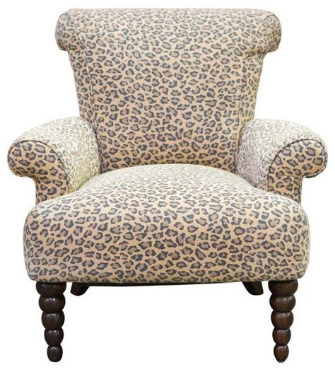 pre owned leopard print rolled back arm chair eclectic armchairs and accent chairs by chairish