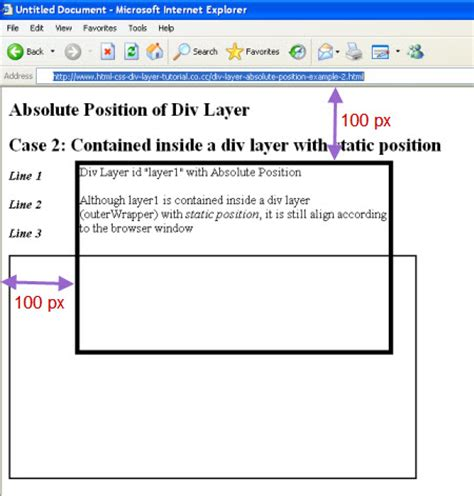 Html Div Position Absolute by Absolute Position Of Div Layer
