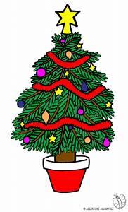 Stampa disegno di Albero di Natale Decorato a colori