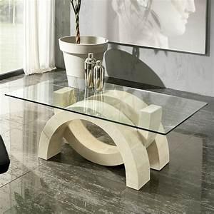 Table Basse En Verre Et Pierre Fossile Austin