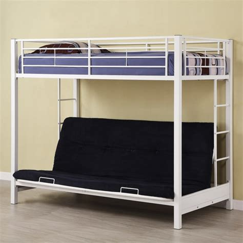 twin over futon premium metal bunk bed white kid