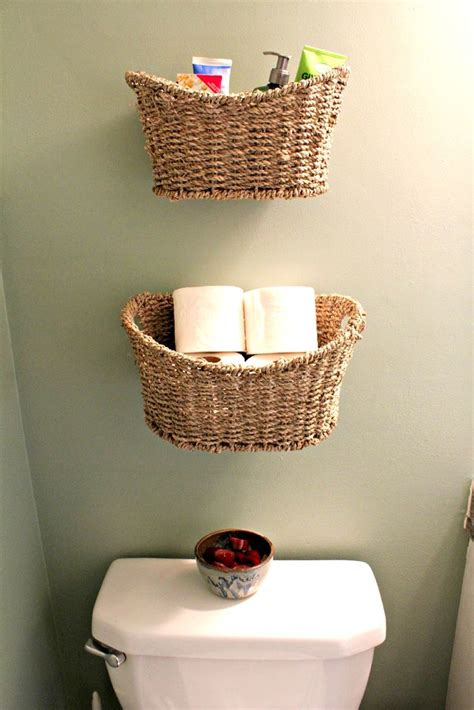 Basket Storage Instead Of Shelves For A Small Bathroom