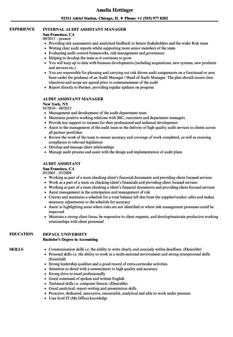 Audit Associate Resume Format by Audit Assistant Resume Sles Velvet