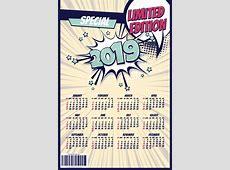 2019 cartoon calendar template vectors 09 free download