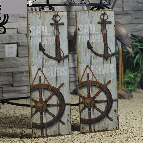 vintage anchor picture nautical decor rustic wooden sign plaque home wall art ebay