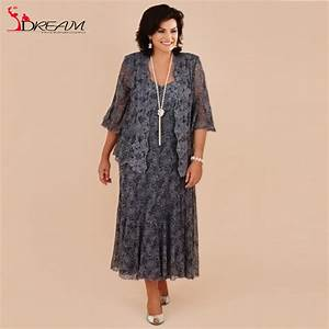 Aliexpresscom buy plus size tea length gray lace mother for Wedding dresses for mother of the bride plus size