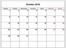 October 2018 Calendar Excel Calendar Template Letter