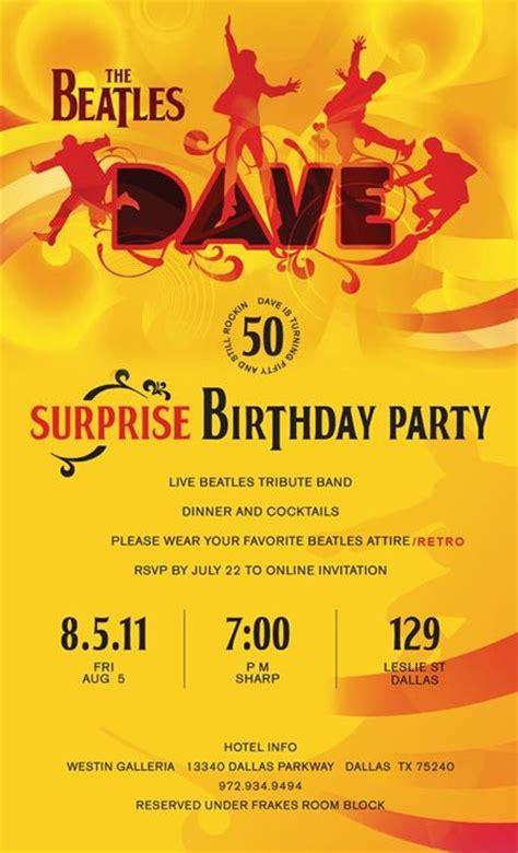 Beatles Birthday Invitations