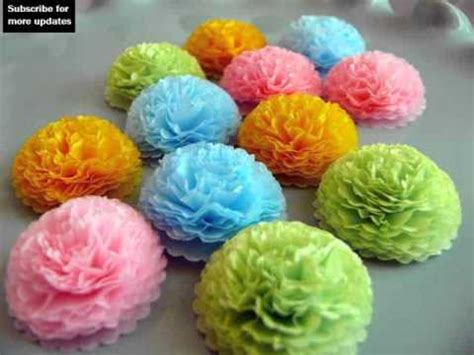 tissue paper flowers craft ideas collection youtube