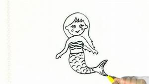 How To Draw A Cute Mermaid In Easy Steps For Children