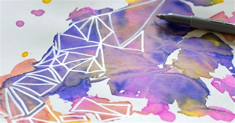 geometric watercolor how to it with the saran