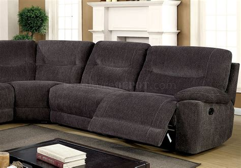 grey reclining sectional zuben reclining sectional sofa cm6853 in gray chenille fabric