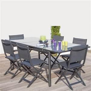 Table Salon Pliante : salon 6 personnes 6 chaises pliantes thema grises ~ Teatrodelosmanantiales.com Idées de Décoration