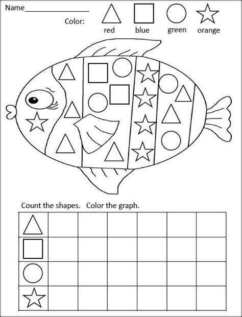 shapes graphing activity fish preschool elementary