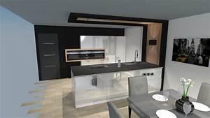 Cuisine moderne laquee blanc brillant avec ilot for Petite cuisine équipée avec meuble de salle a manger blanc