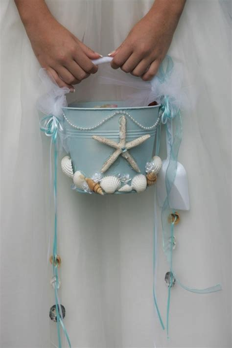beach wedding flower girl starfish beach pail