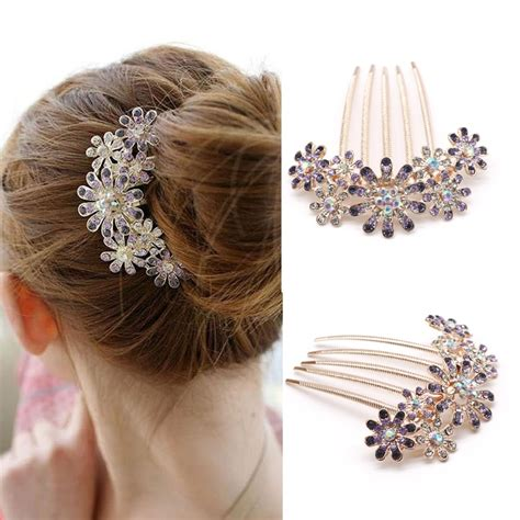 1PC Fashion Crystal Flower Hairpins Metal Hair Clips For