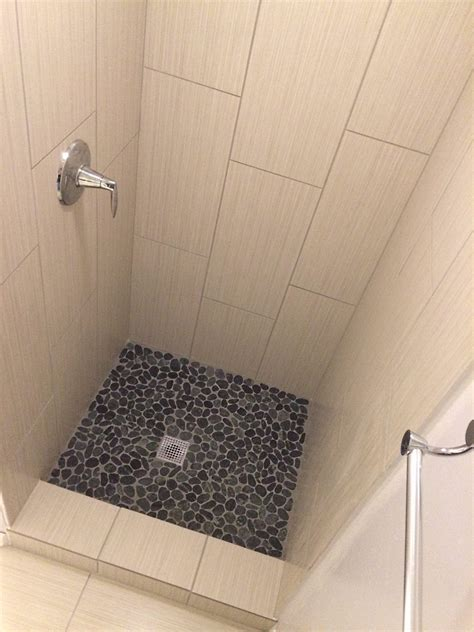 subway tile shower bench sliced charcoal black pebble tile pebble tile shop