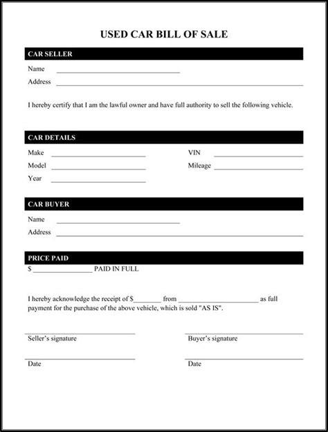 printable sample auto bill  sale form bill  sale car