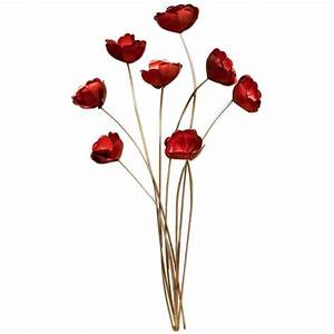 Bunch of red poppies metal wall art