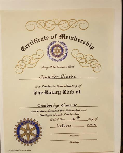 Rotary Club Certificate Template by Rotary Certificate Appreciation Template Image Collections