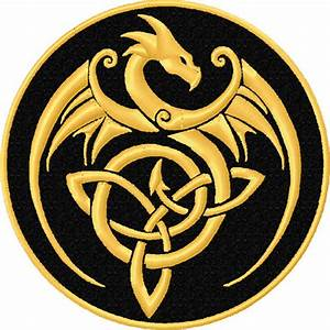 Gold Dragon Celtic Knot Patch - Celtic Knot Dragon Patch ...