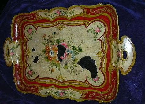 hand painted japan papier mache tray flowers fine