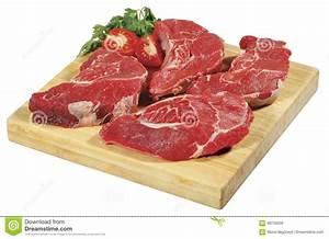 Fresh Raw Red Beef Meat Big Steak Chunk On Wooden Cut ...