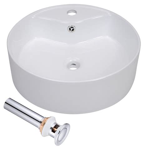 vessel sink with overflow bathroom ceramic porcelain vessel sink w overflow white