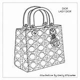 Dior Bag Lady Designer Drawing Sketch Handbag Cad Purse Coloring Handbags Purses Disegno Borsa Moda Sketches Handtaschen Borse Bolsos Tasche sketch template