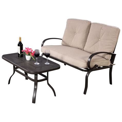 2 pcs patio outdoor loveseat coffee table set furniture