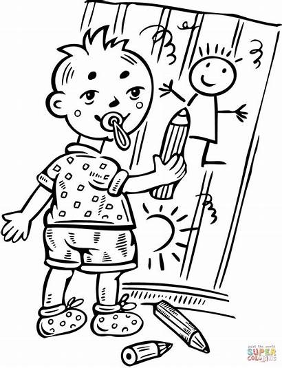 Drawing Boy Coloring Clipart Cartoon Fence Clip