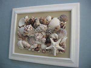 reserved, for, natalie, original, seashell, collage, tan, canvas