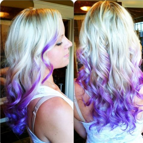 Platinum With Purpleindigo Dip Dyed Ends Hair Colors Ideas