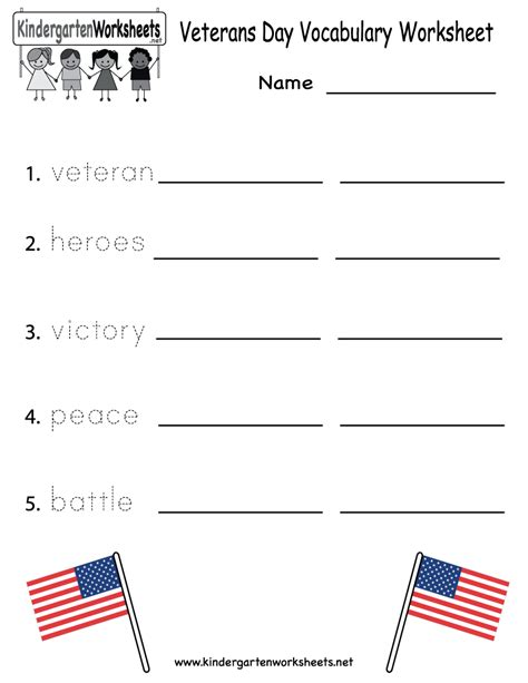 veterans day vocabulary worksheet free kindergarten
