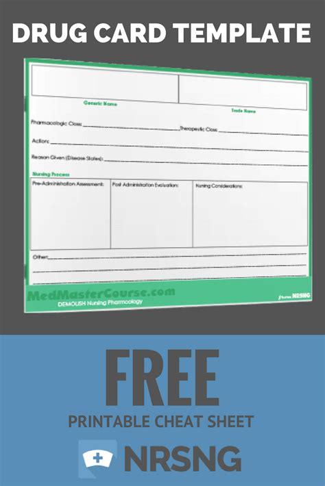 medication card template free printable sheet card template nursing