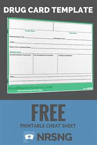 free printable cheat sheet drug card template nursing With med cards template