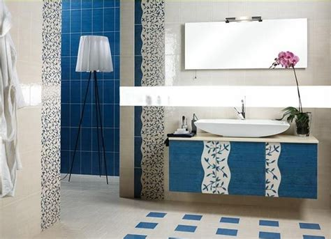White And Blue Tiles In Bathroom
