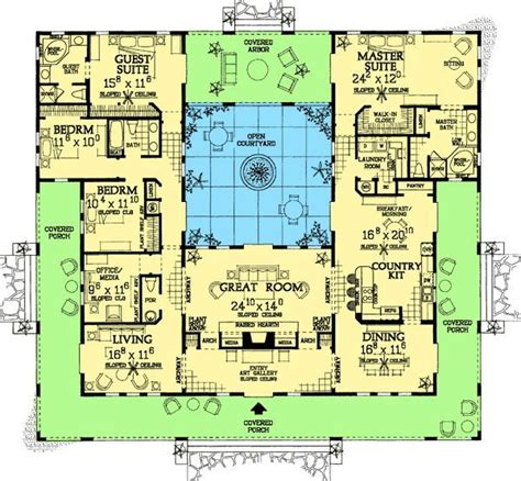 plan  open courtyard dream home plan courtyard house plans mediterranean house plans