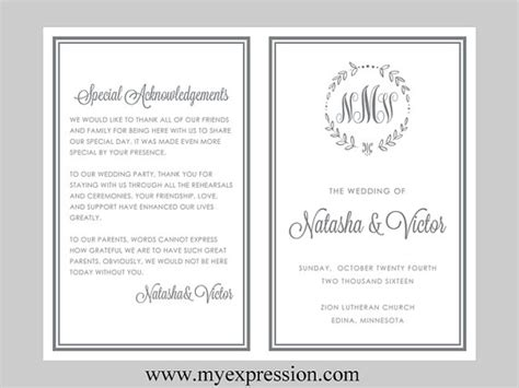 diy wedding program template bifold gray