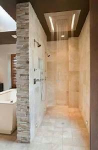 pommeau jet pluie et led pour la douche italienne aux murs With carrelage adhesif salle de bain avec pommeau douche led
