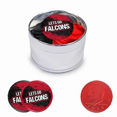 Milk Chocolate Coins Falcons Tin Stickers Plastic
