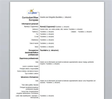 scarica curriculum vitae europeo da compilare gratis pdf curriculum vitae europass download gratis