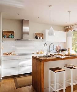 Cocinas, Blancas, Modernas, Con, Isla, En, La, Cocina, Kitchen