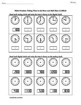 1st grade common core math worksheet 1 md 3 telling time
