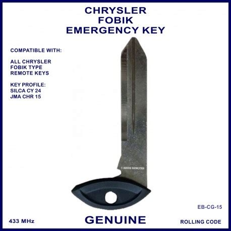 chrysler emergency key blade for fobik remote twist mechanical